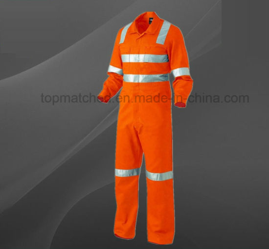 Worker Men's High Visibility Reflective Uniform Safety Coverall