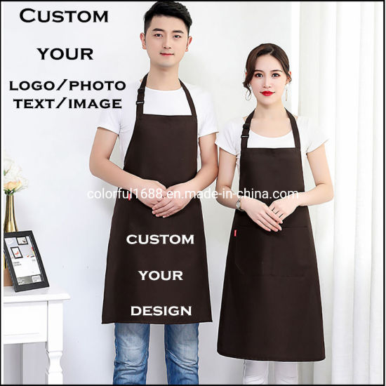 Custom Kitchen Apron, Aprons for Woman, Chef Apron, Adjustable Bib Apron with Pockets, Coffee Apron with Logo, Restaurant Apron, Advertising Aprons
