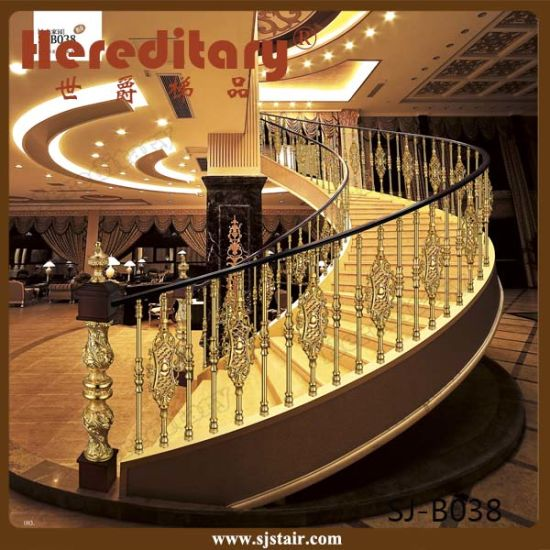 Interior Luxury Curve Staircase Aluminum Copper Stair Handrail (SJ-B023) pictures & photos