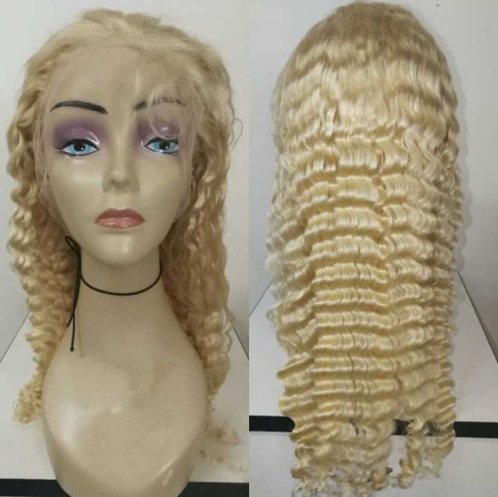 Top Quality Hair Products 613 Human Hair Accessories Full Lace Wig Virgin Brazilian Hair Blonde Wig Deep Wave Full Lace Wig