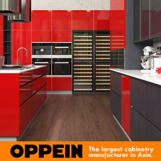 Oppein Modern Red Industrial High Glossy Lacquer Wood Kitchen Cbinet (OP16-L25)