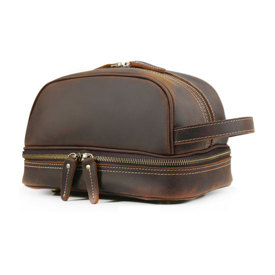 Wholesale Price Promotional Brown Leather Makeup Bag Real Leather Cosmetic Bag for Traveling
