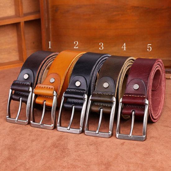 Vintage Pin Buckle Leather Belts for Men Strap