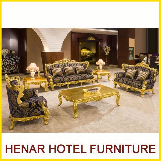 China Royal Gold Wood Living Room Furniture Sofa Set for Hotel Lobby ...