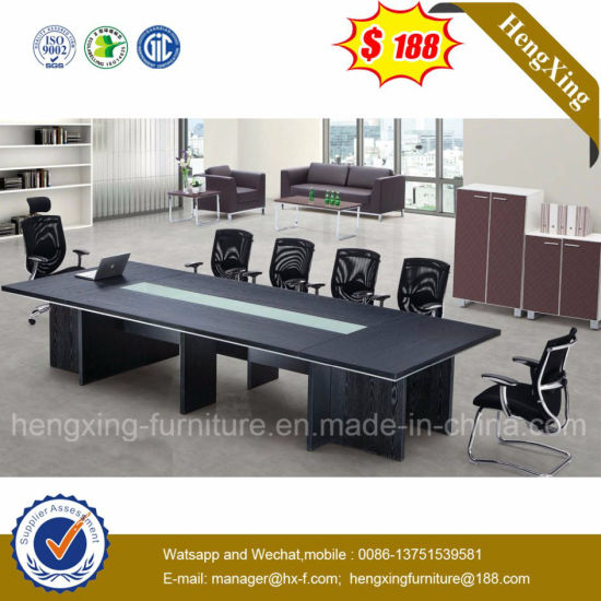China Luxury Glass Panel Black Color Big Sale Conference Table HX - Glass conference table for sale