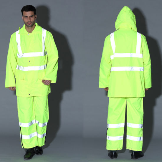 Safety High Visibility Reflective Raincoat Traffic Clothing Workwear Uniform
