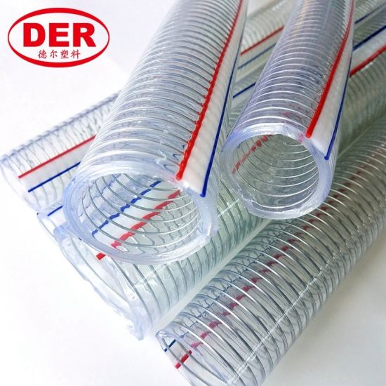 "1/4""~10"" Clear/Transparent PVC Plastic Spiral Steel Wire Reinforced Suction/Discharge Water/Oil Soft Hose/Pipe pictures & photos"