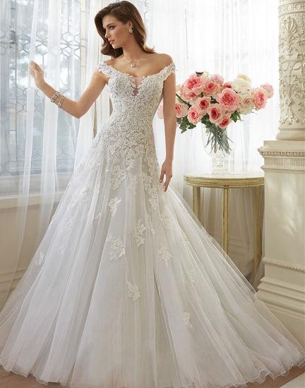 China Tall Slim Lace Applique Tulle Keyhole Back Wedding Bridal ...