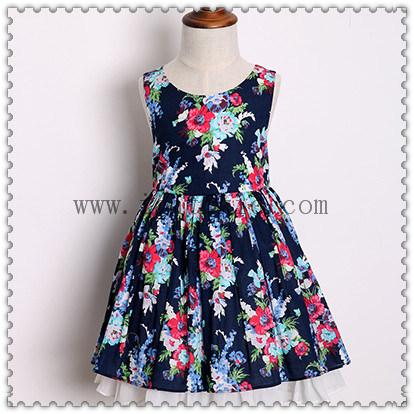 Wholesale Summer Baby Casual Girls Dress Kid's Wear Clothing for 6 Years Old