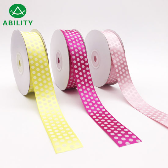 Hot Selling Popular DOT Printed Polyester Satin Ribbon