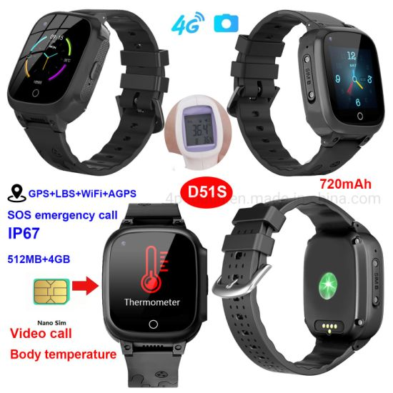 Latest GPS Tracking Device Video Call 4G IP67 Senior Smart Tracker Watch with Thermometer D51S