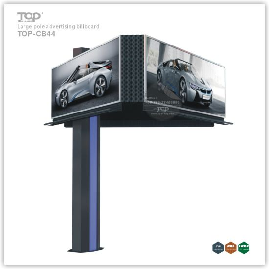 Outdoor Large Pole Three Sided Light Box, Trivision Advertising Billboard