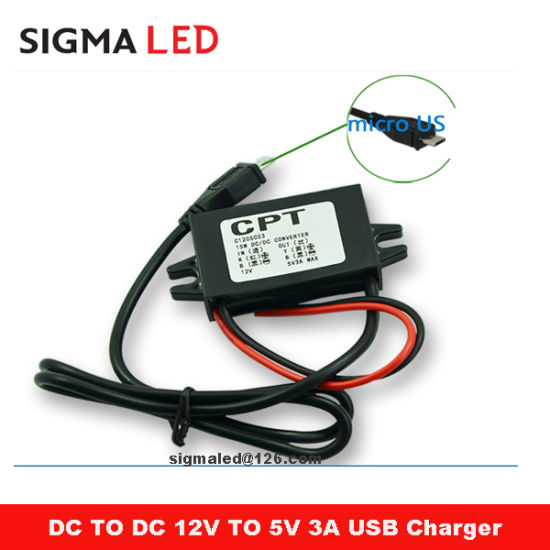 CPT 12 Volt to 5 Volt DC Converter with Right Angled 90 Degree Micro USB  Connector Cable for in Car Cellphone Charging