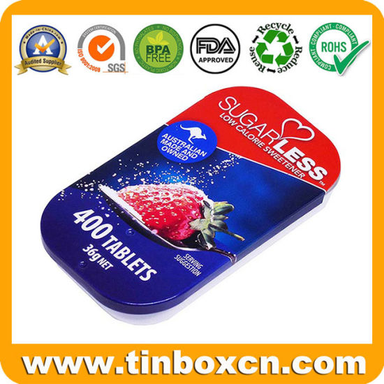 Custom Sliding Metal Box Mint Tin with Inner Inserts and Slide Top for Candy Sweets Pill Medicine pictures & photos