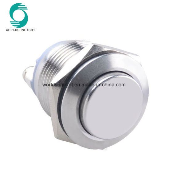 19mm High Flat Head Type Reset Stainless Steel Push Button Switch with 2 Screw Terminals
