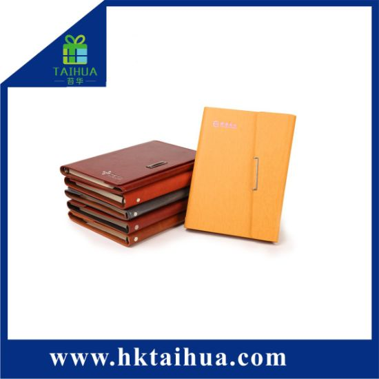Business Leader PU Leather Cover Custom Logo A5 Notebook with Card and Pen Holder Folder