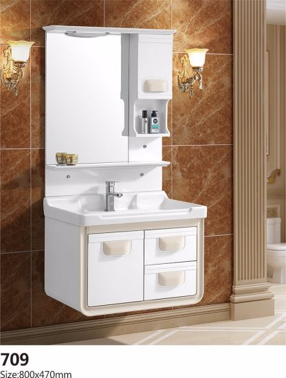 PVC White Basin with Mirror Bathroom Sanitary Cabinet