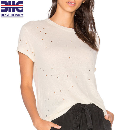 March Expo Casual Tops 100% Linen Short Sleeve Womens T Shirts for Ladies pictures & photos