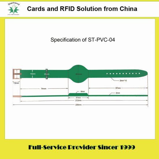 125kHz/13.56MHz RFID PVC/Silicone Wristband Used for Access Control (PVC-04)