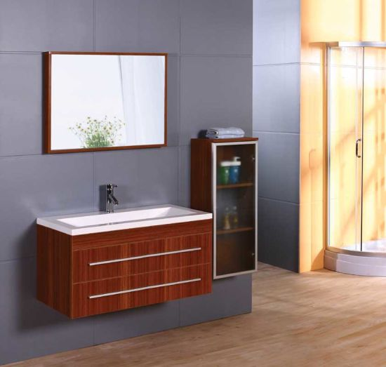 Acrylic Basin MDF Bathroom Cabinet with Side Vanity