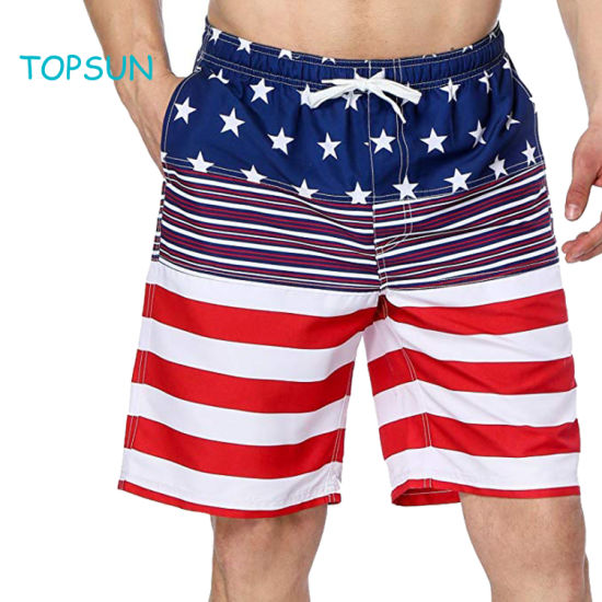 Men's Summer American Flag Printed Board Shorts with Pocket Swim Short Trunk Beach Pants