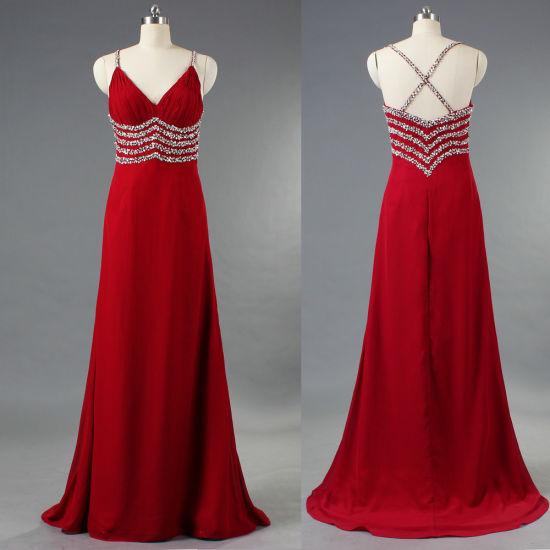 Burgundy Spaghetti Strap Bead Chiffon Long Evening Dresses for Women E304