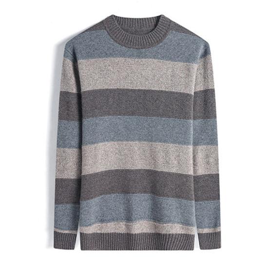 Wholesale Striped Merino Wool Crew Neck Men Knitwear