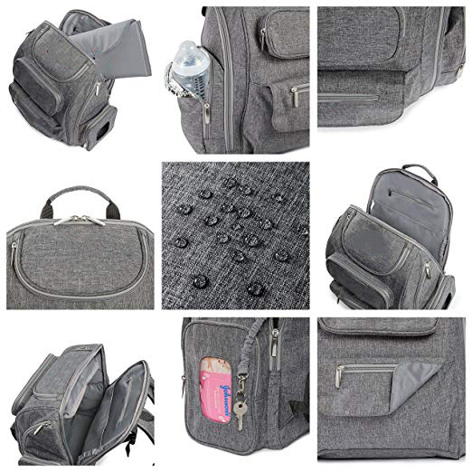 Bag Nation Diaper Bag Backpack With Stroller Straps Changing Pad And Sundry Bag