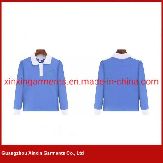 Unisex Blue Cotton Shirts for Kindergarten/Primary/Middle School Children for Sports Wear Uniform (U160) pictures & photos