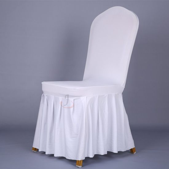 Beautiful Pleated Skirt Lycra Spandex Khaki Chair Cover for Home and Party