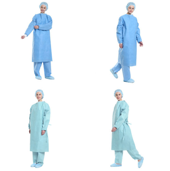 3/4 Sterile Nonwoven Surgical Nonwoven Disposable Reinforced Surgical Gown and Blue Surgical Gown with Knitted Cuff