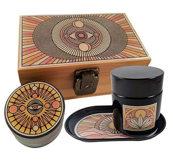 Stash Box Combo - Accessories Kit, Locking Wooden Box with Grinder, Rolling Tray, Smell Proof Glass Jar, Bamboo Box with Lock