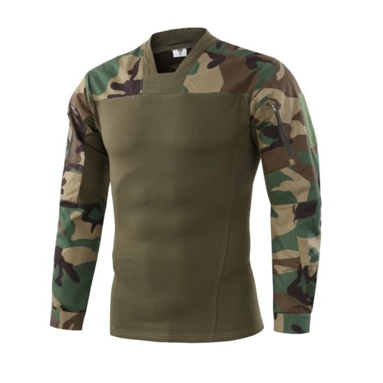 Wholesale Mens Outdoor Polyester Army Camo Quick Dry Blank Long Sleeve T Shirt pictures & photos