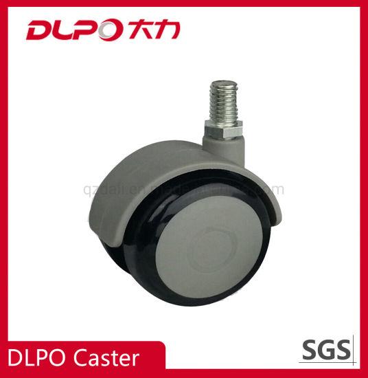 Dlpo M10*25 Threaded Stem Zinc-Plated Medical Wheel Castor for Cabinet