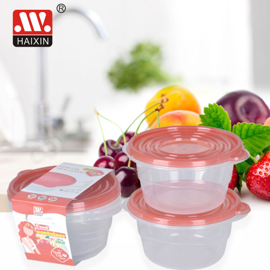 Round Plastic Food Container for Fresh Food Storage in Freezer