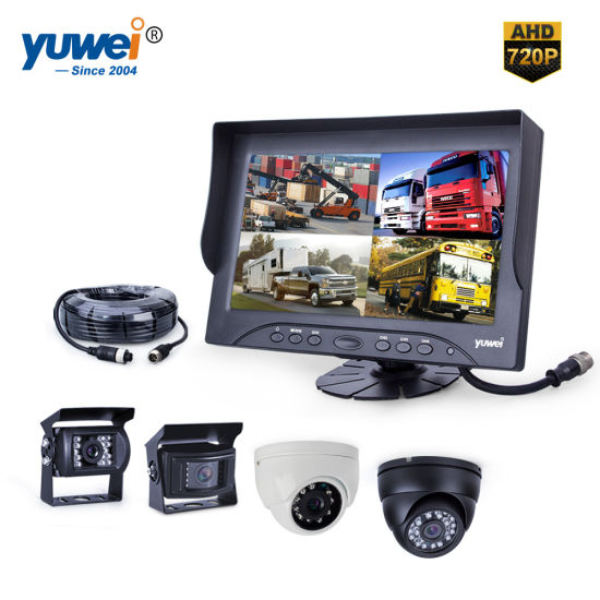 "7/"" QUAD//SPLIT REAR VIEW BACKUP 2 CAMERAS CCTV SYSTEM FOR AG TRACTOR FORKLIFT RV"