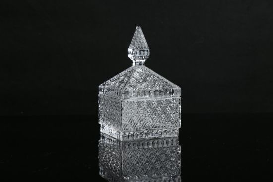Transparent Crystal Relief Glass Jar Seal with Cover Jewelry Box Aromatherapy Square Piggy Bank Home Decoration Accessories Factory