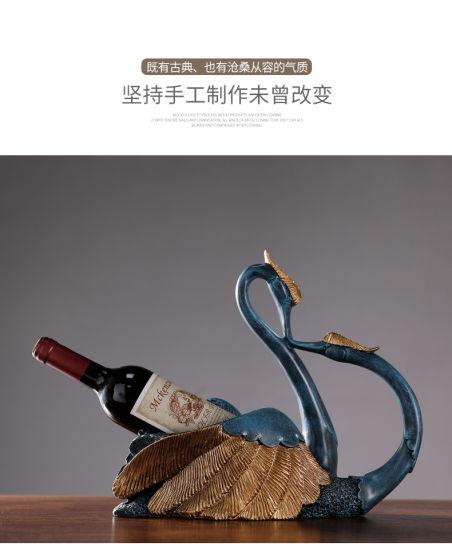 Resin Blue Couple Swan Wine Rack Crafts Ornament