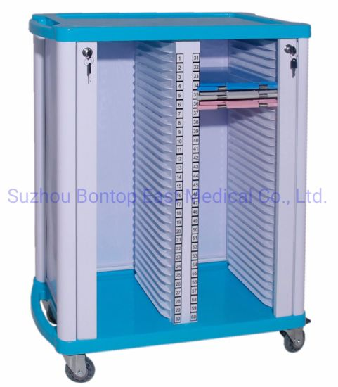 Double-Row ABS Hospital Patient Nursing Mobile File Cart Record Document Chart Holder Medical Record Trolley/Cart OEM ODM
