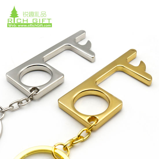 Brass Keychain Buttons Stylus CONTACT FREE KEY No Touch Tool Open doors
