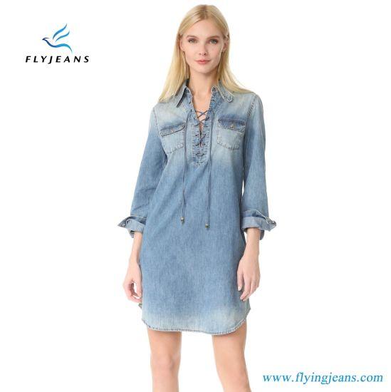 dedd0e0f588b China Fancy Wash Women Long Sleeves Denim Shirt Dress with 100 ...