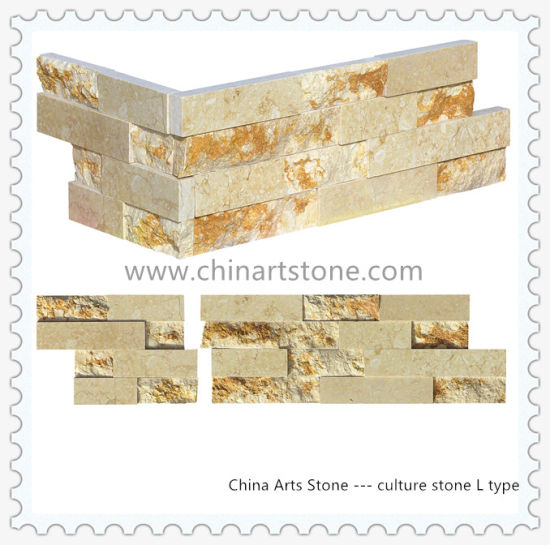 Golden Beige Marble Slate Culture Stone for External Wall pictures & photos