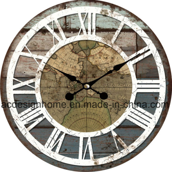China creative high quality vintage mdf wall clock with world map creative high quality vintage mdf wall clock with world map design for home decor gumiabroncs Images