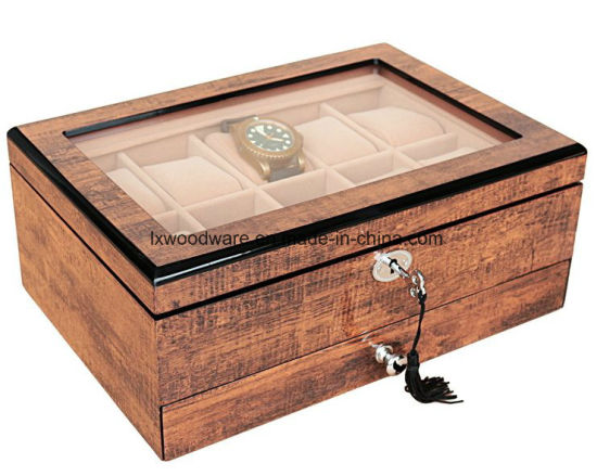 Antique Brown Piano Finish Wooden Watches Jewelry Display Storage Packaging Gift Box