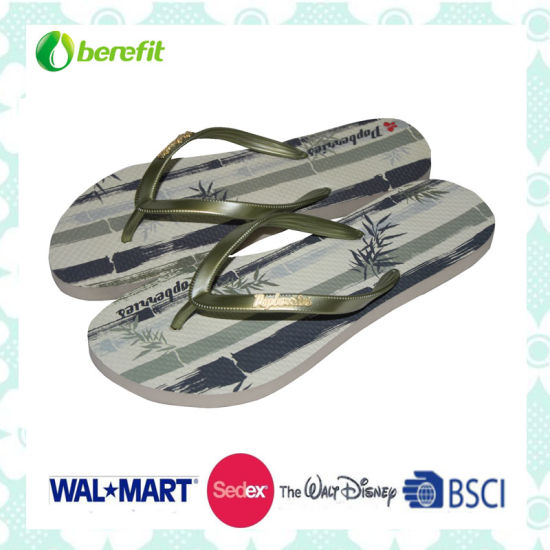 EVA Sole and PVC Straps with Logo, Women's Slippers