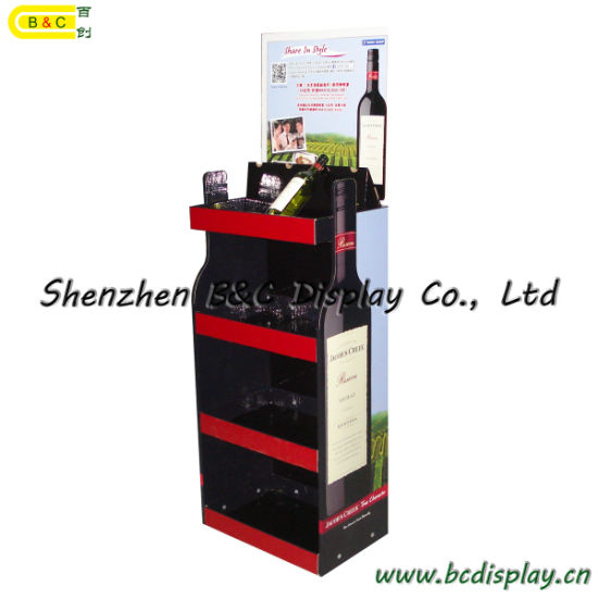 Cheap Exhibition Display Stand Cardboard Floor Display Foe Red Wine with SGS (B&C-A025)