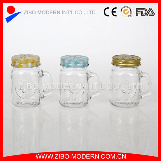 Wholesale Glass Mini Mason Jars with Handle and Metal Lid pictures & photos