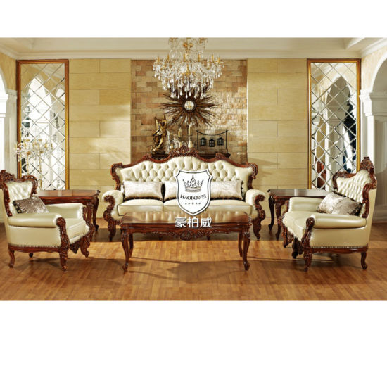 Real Leather Royal Living Room Furniture Sofa Set 3 2 1