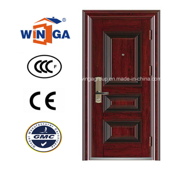 Reasonable Price Wood Color Winga Security Steel Door (W-S-46) pictures & photos