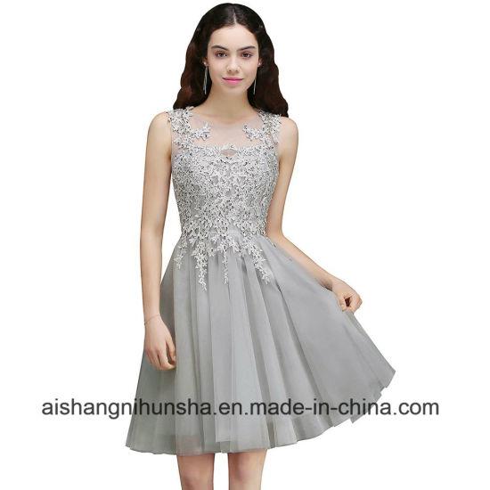 China Beaded Appliqued Short Tulle Prom Dresses Sleeveless Prom ...